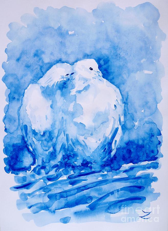 Dove Painting - Love  by Zaira Dzhaubaeva
