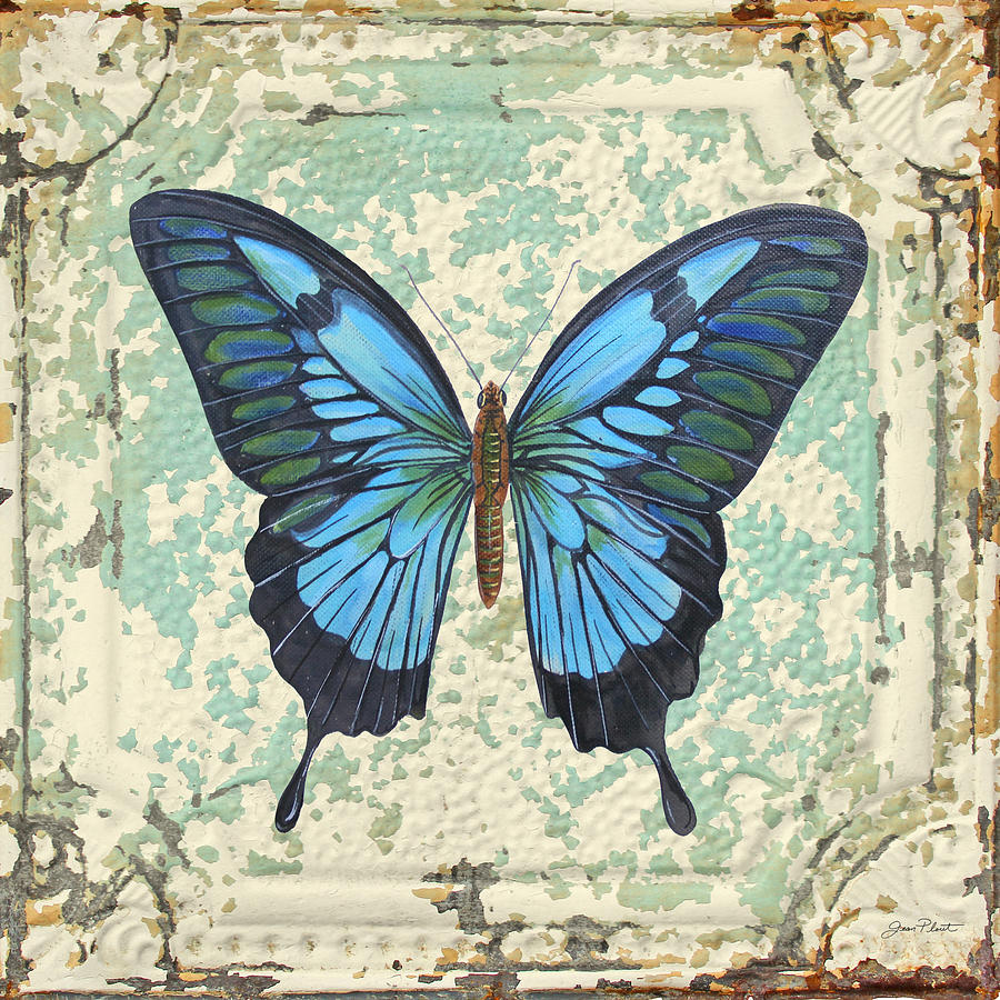 Lovely Blue Butterfly On Tin Tile Painting By Jean Plout