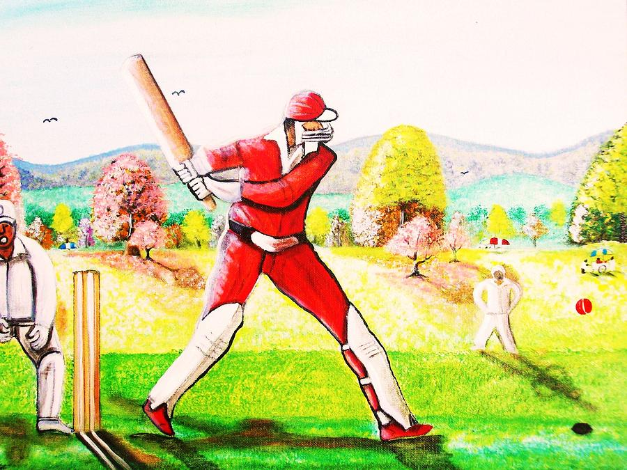 Cricket Pyrography - Lovely Day For Cricket. by Roejae Baptiste
