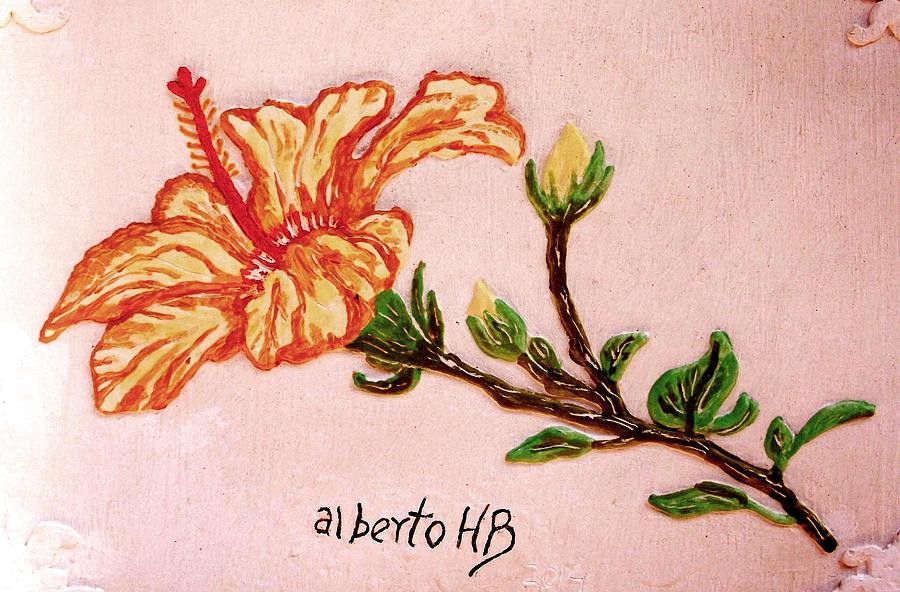 Hibiscus Flower Relief - Lovely Hibiscus by Alberto H-B