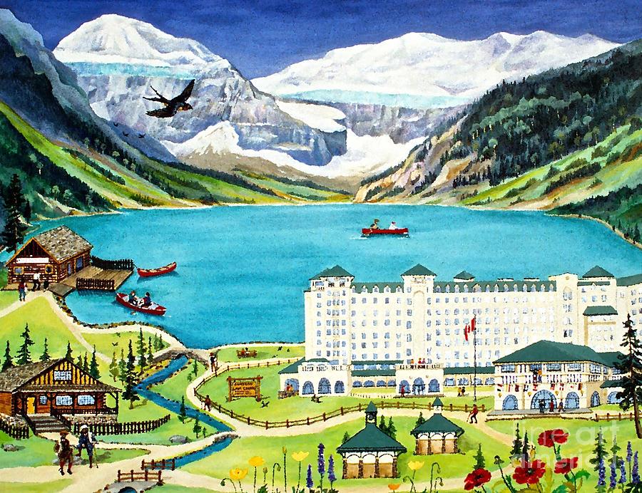 Lake Louise Painting - Lovely Lake Louise by Virginia Ann Hemingson