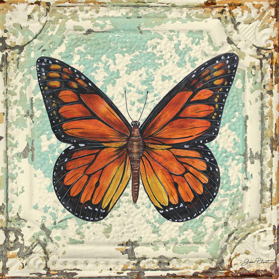 Lovely Orange Butterfly On Tin Tile Painting by Jean Plout