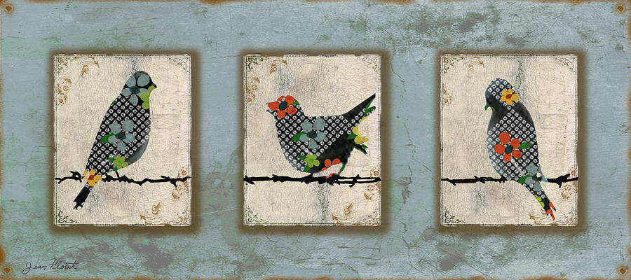 Blue Digital Art - Lovely Song Bird Trio -1 by Jean Plout
