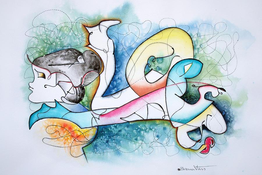 Abstract Painting - Lover by Zuzana Vass