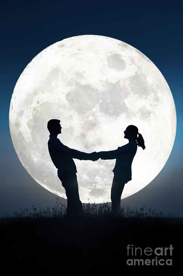 Lovers And Full Moon Photograph By Lee Avison