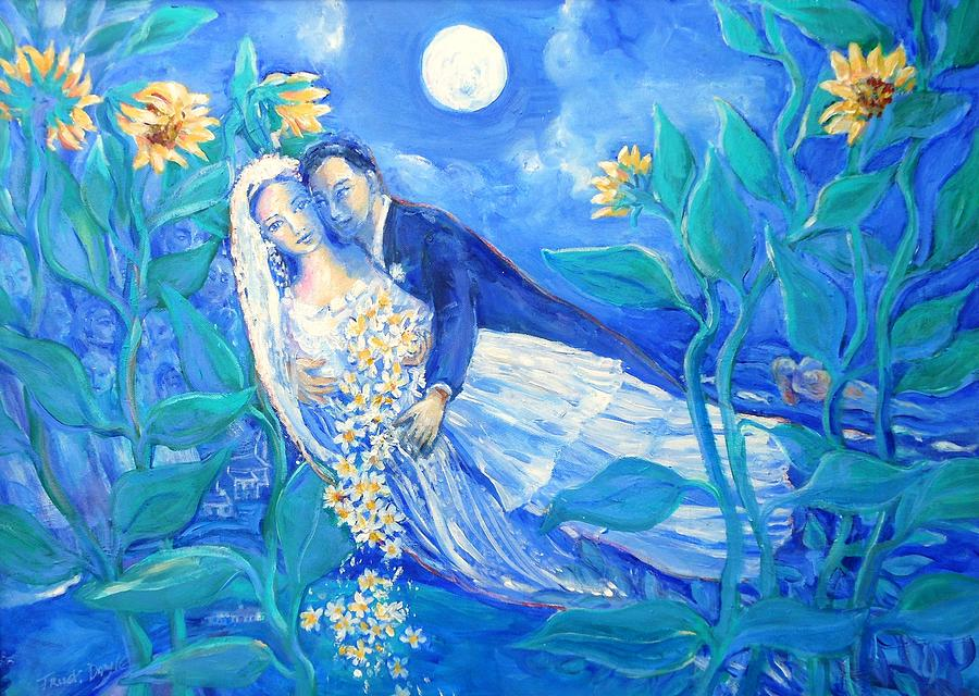 Lovers And Sunflowers After Marc Chagall Painting By Trudi