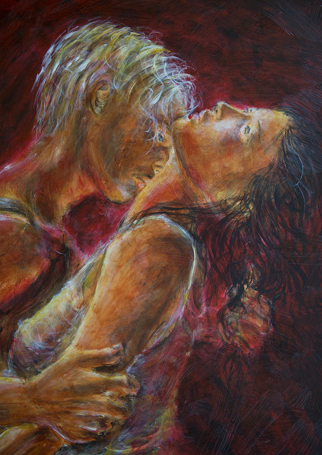 Lovers In Red Painting By Nik Helbig