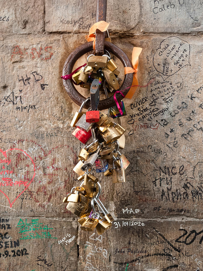 Lover's locks on the Ponte Vecchio in Florence by John Pagliuca