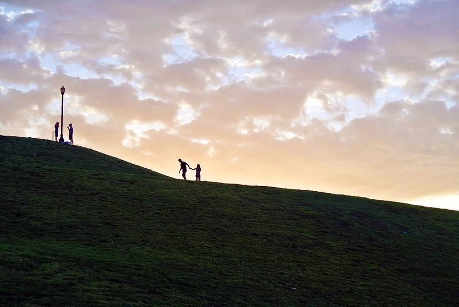 Lovers Photograph - Lovers On Federal Hill At Dusk by Toni Martsoukos