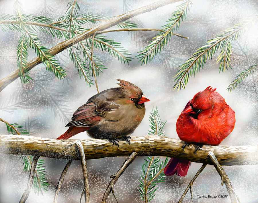 Redbirds Painting - Lovers Quarrel by Patrick Belote