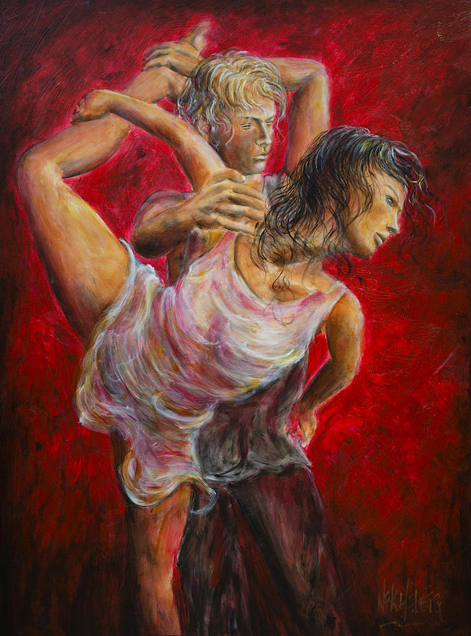 Tango Painting - Lovers Red 04 by Nik Helbig