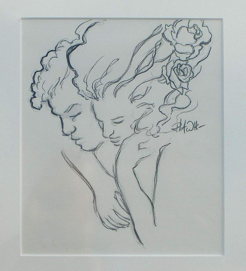 Drawing Drawing - Loves Embrace by Robert Walker