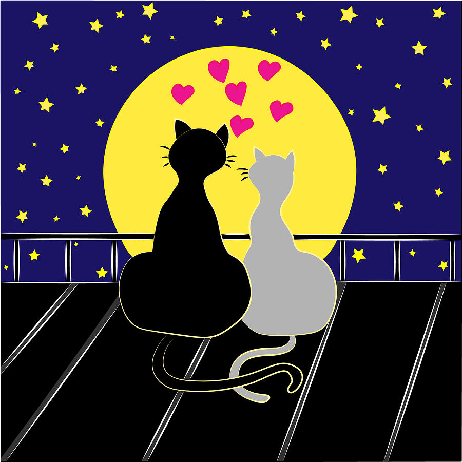 Loving Cats On The Roof Digital Art by Saroutlander