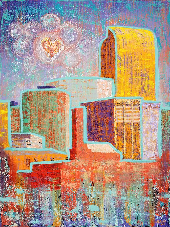 Cityscape Painting - Loving It in Denver by Margaret Bobb