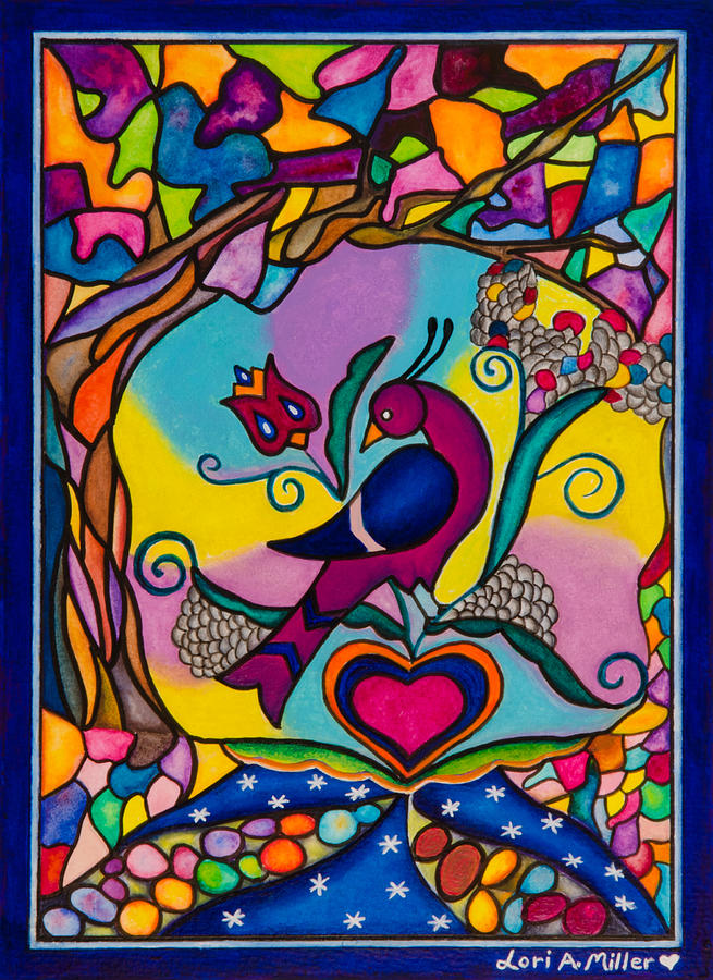 Valentine's Day Painting - Loving The World by Lori Miller