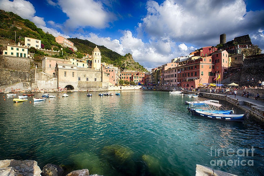 Cinque Terre Photograph - Low Angle View Of Vernazza  Harbor by George Oze