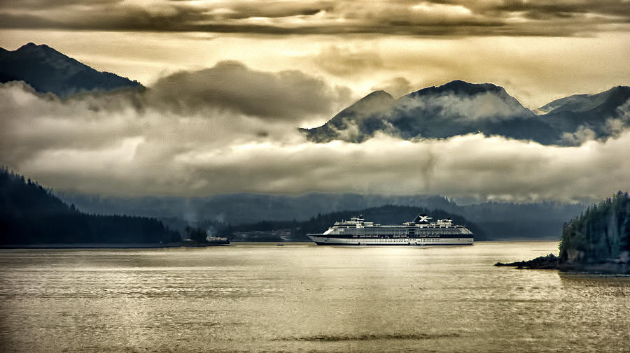 Glacier Photograph - Low Clouds - Half Speed by Jon Berghoff