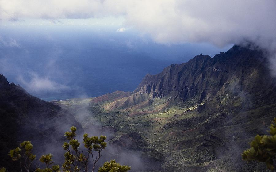 Hawaii Photograph - Low Clouds Over A Na Pali Coast Valley by Stuart Litoff