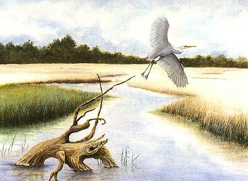 Egret Painting - Low Country Marsh by Ben Kiger