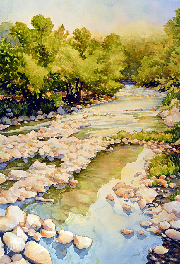 Nature Painting - Low Flowing Creek by Mick Williams
