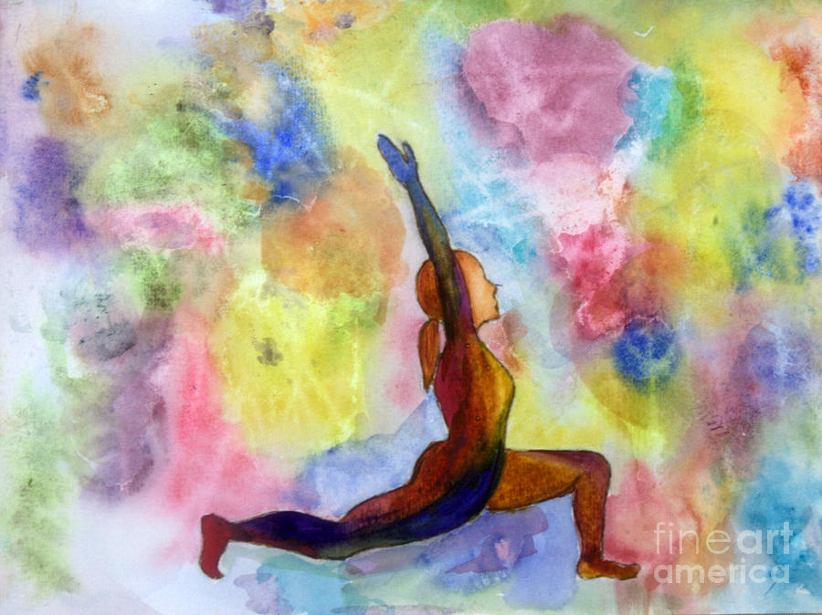Low Lunge Yoga Pose Painting By Donna Walsh