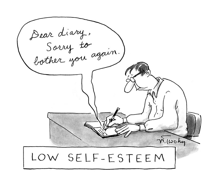 Low Self-esteem dear Diary Drawing by Mike Twohy