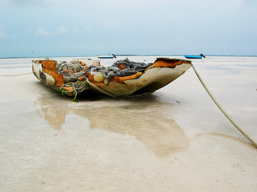 Boat Photograph - Low Tide 2 by Sarah-jane Laubscher