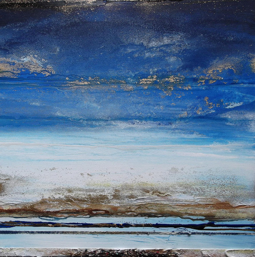 Blue Mixed Media - Low Tide Beach Rhythms And Textures Blue Series1 by Mike   Bell