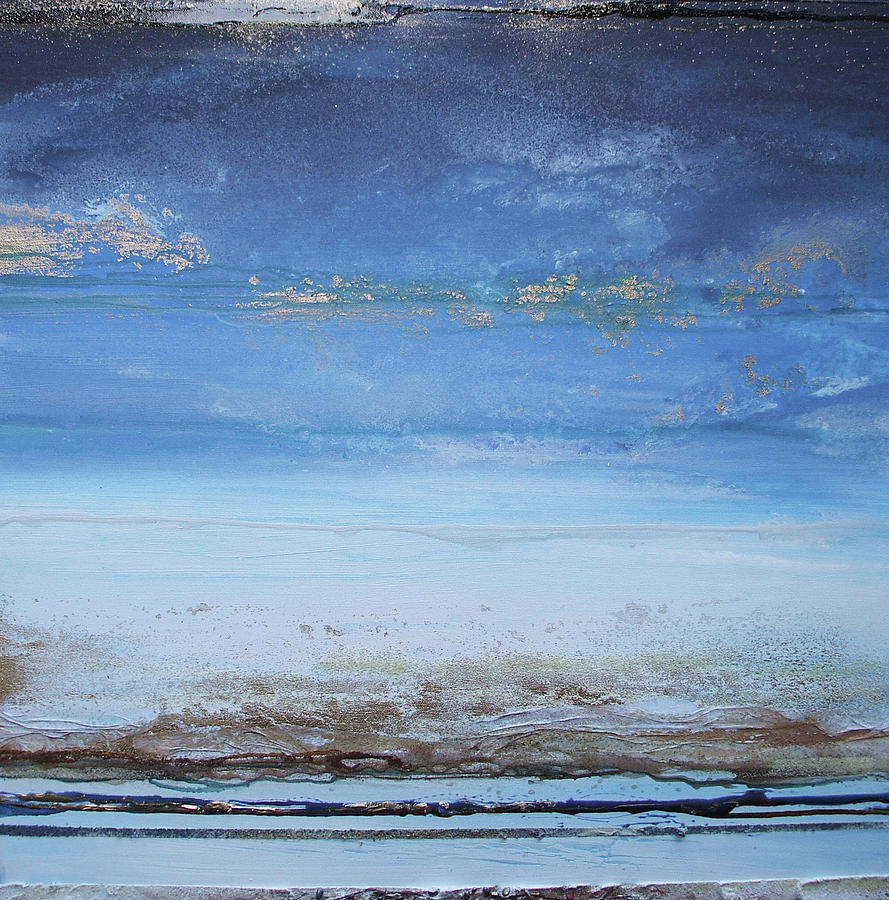Blue Mixed Media - Low Tide Beach Rhythms And Textures Blue Series1a by Mike   Bell