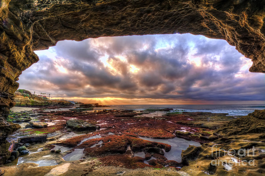 Low Photograph - Low Tide Sunset In La Jolla by Eddie Yerkish