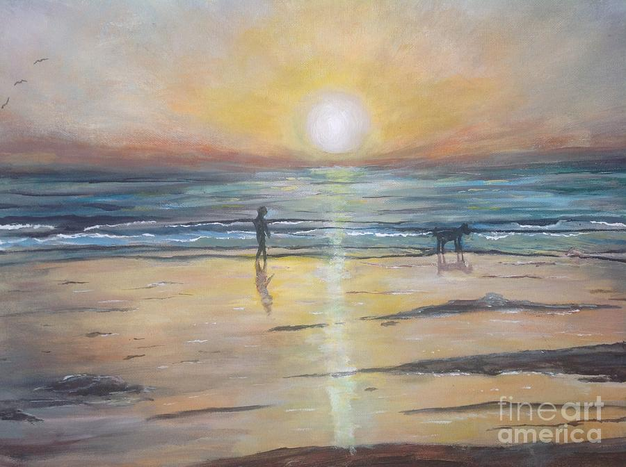 Seascape Painting - Low Tide Sunset. Southern California  by Linea App