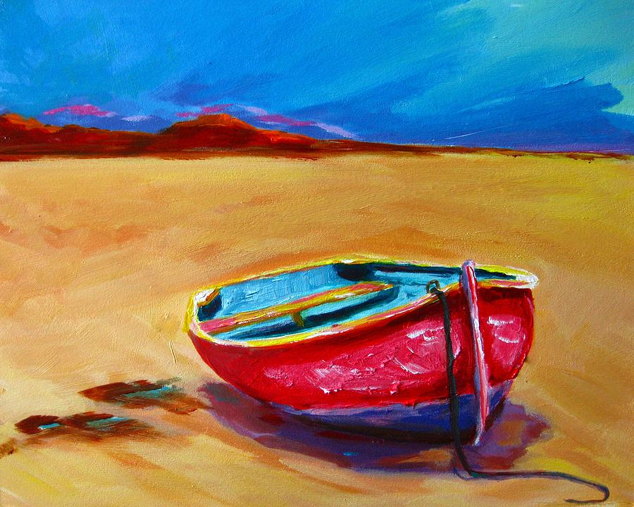 Acrylic Painting Painting - Low Tides - Landscape Of A Red Boat On The Beach by Patricia Awapara