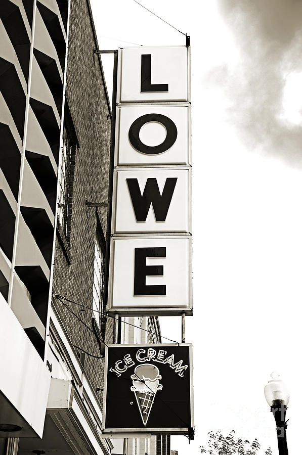 Lowe Drug Store Sign Bw Photograph - Lowe Drug Store Sign Bw by Andee Design