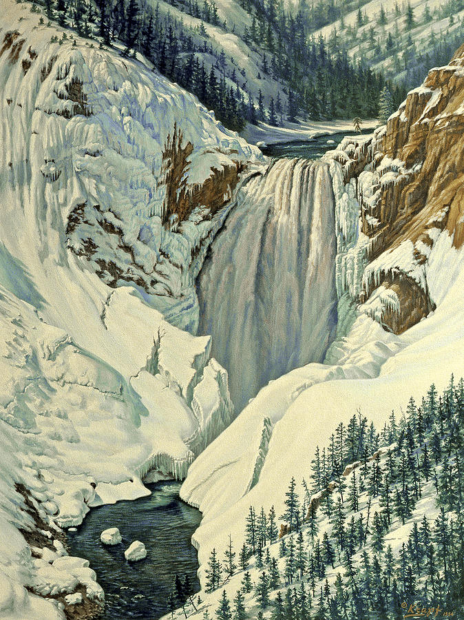 Landscape Painting - Lower Falls-april by Paul Krapf