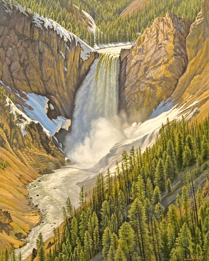 Landscape Painting - Lower Falls-may   by Paul Krapf