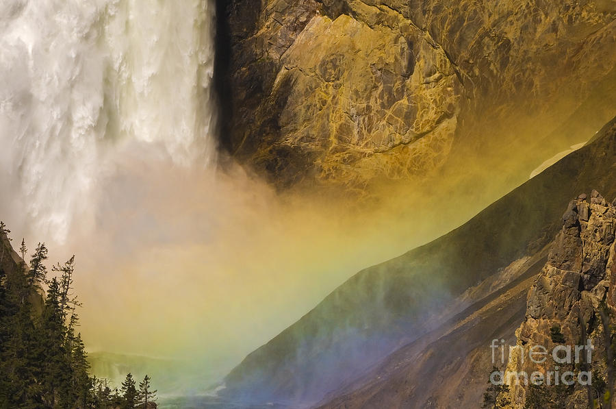 Yellowstone National Park Photograph - Lower Falls Rainbow - Yellowstone by Sandra Bronstein