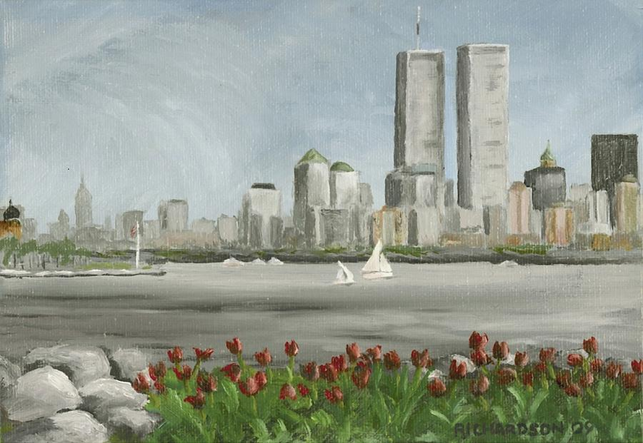 Twin Towers Painting - Lower Manhattan 1992 by Susan Richardson