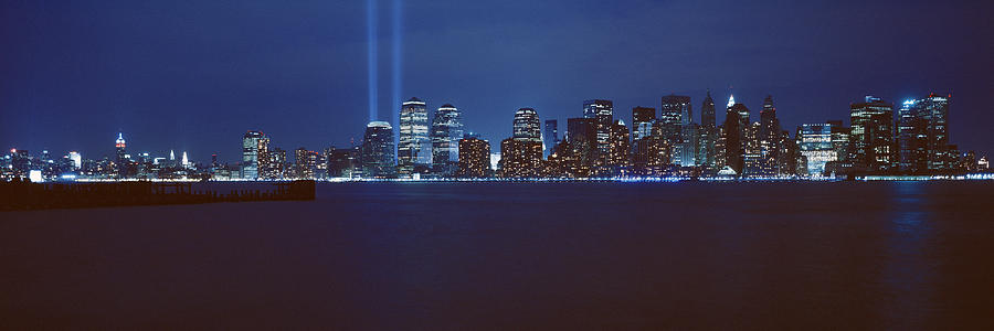 Color Image Photograph - Lower Manhattan, Beams Of Light, Nyc by Panoramic Images