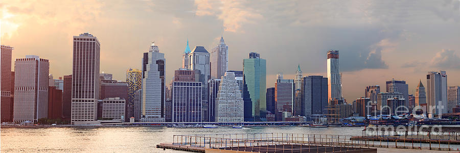 Panorama Photograph - Lower Manhattan Panorama From Brooklyn by Thomas Marchessault