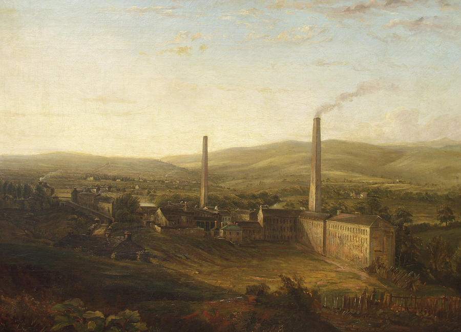 Factory Painting - Lowerhouse Print Works, Burnley by English School