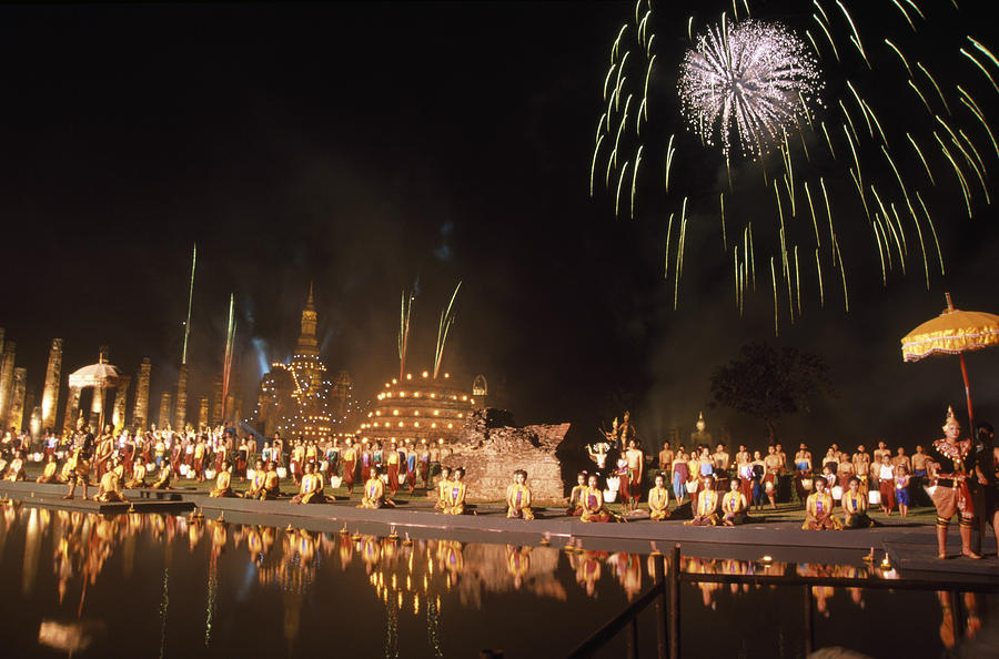 Sukhothai Photograph - Loy Krathong show in Thailand by Richard Berry