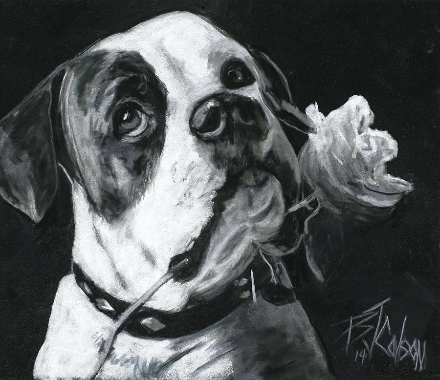 American Bulldog Painting - Loyal Love by Billie Colson