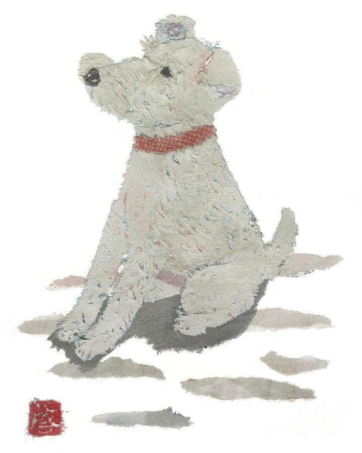 Pet Portrait Painting - Lakeland Terrier Art Hand-torn Newspaper Collage Art Pet Portrait by Keiko Suzuki