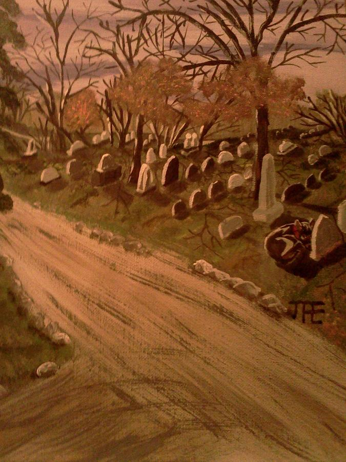 Cemetery. Scene. With Forked Road And Trees And A Dog Painting - Loyalty  by Renee McKnight