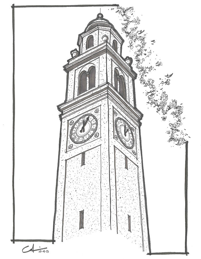 tigers drawing lsu memorial bell tower by calvin durham