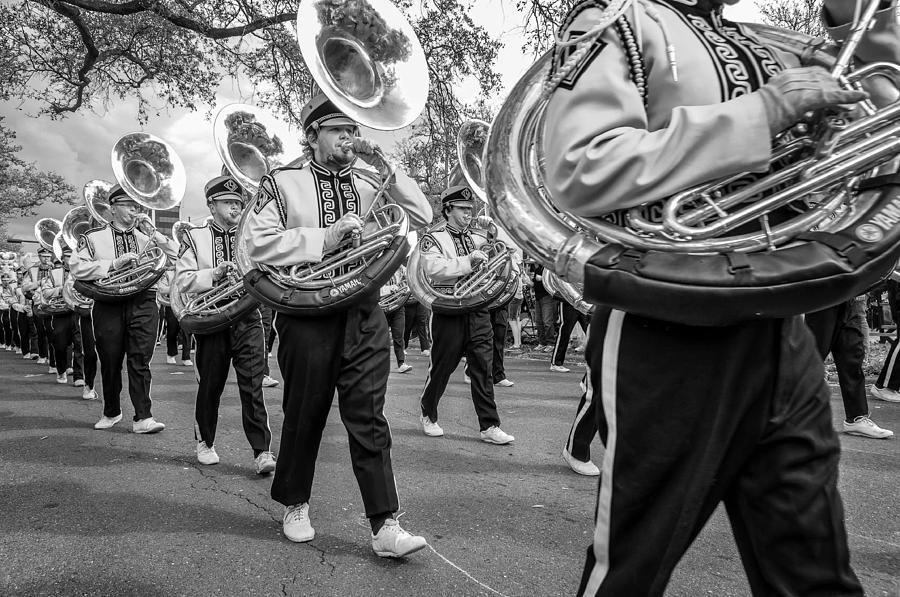 Nola Photograph - Lsu Tigers Band Monochrome by Steve Harrington