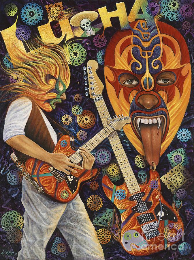 Lucha Painting - Lucha Rock by Ricardo Chavez-Mendez