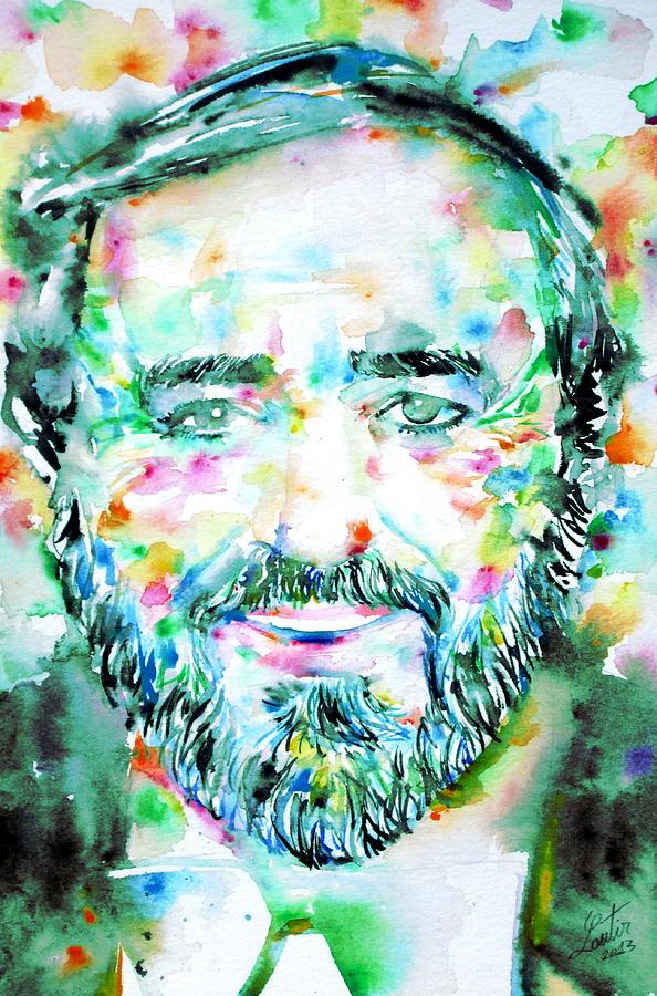 Luciano Pavarotti Painting - Luciano Pavarotti - Watercolor Portrait by Fabrizio Cassetta