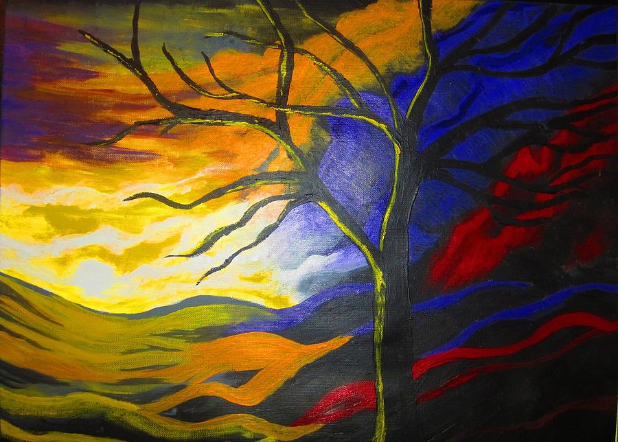 Tree Painting - Lucid Dreams by Haleema Nuredeen