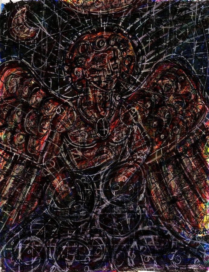 Angel Drawing - Lucifer Defies God by Rachel Scott